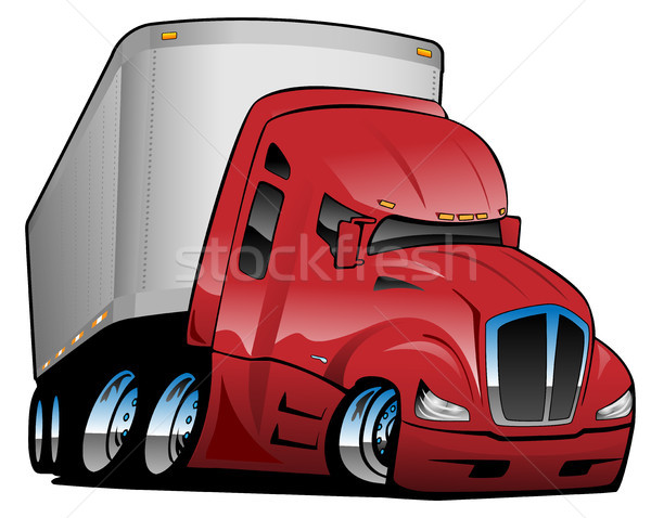Semi Truck with Trailer Cartoon Vector Illustration Stock photo © jeff_hobrath