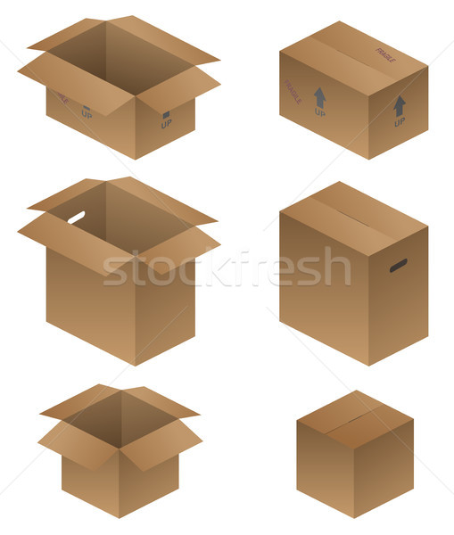 Various Shipping, Packing, and Moving Boxes Vector Illustration Stock photo © jeff_hobrath