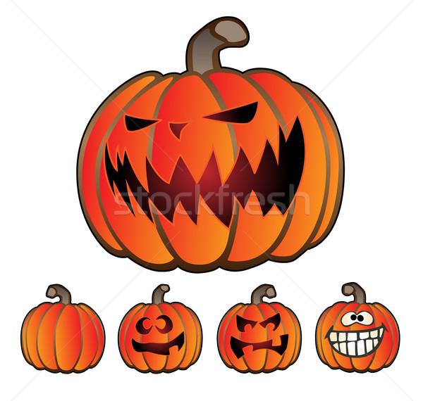 Halloween tatil kabak fener ayarlamak beş Stok fotoğraf © jeff_hobrath