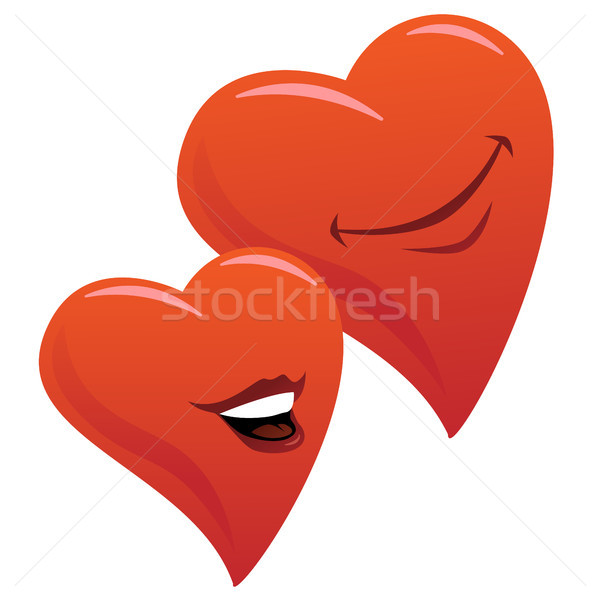 Cute Smiling Romantic Hearts Couple Cartoon Vector Illustration Stock photo © jeff_hobrath