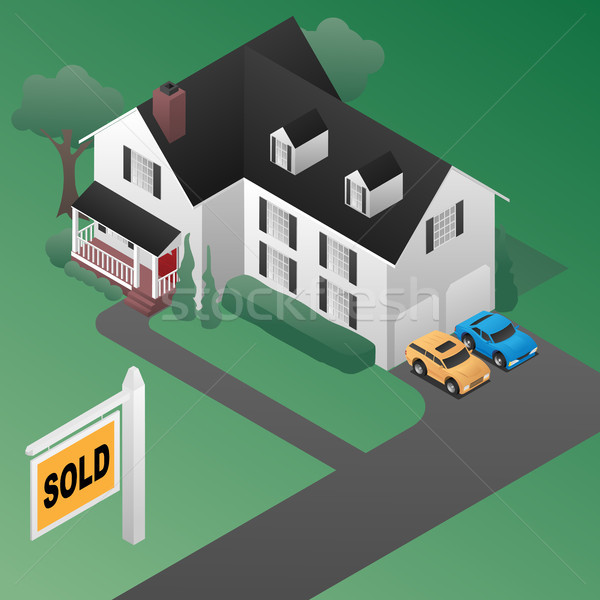 Real Estate Sold Sign with House Isometric 3d Style Vector Illustration Stock photo © jeff_hobrath