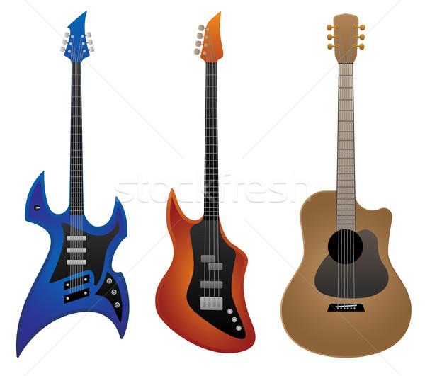 Elektromos kő gitár basszus akusztikus gitár éles Stock fotó © jeff_hobrath