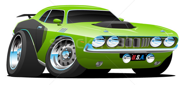 Classic Seventies Style American Muscle Car Cartoon Vector Illustration Stock photo © jeff_hobrath