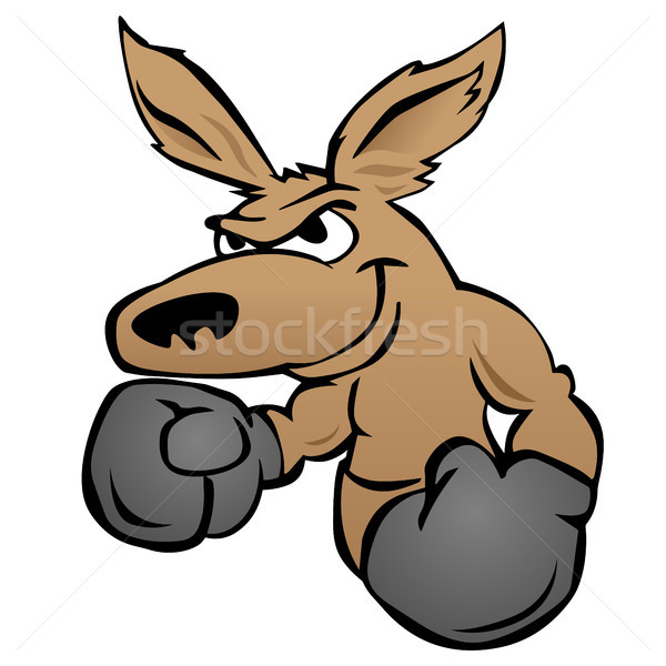 Stock photo: Cute kangaroo with boxing gloves vector illustration