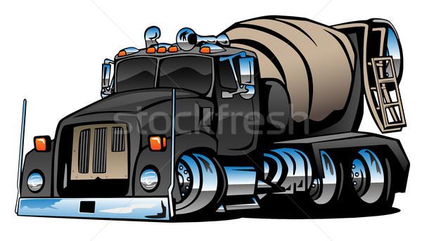 Cement mixer vrachtwagen cartoon cool chroom Stockfoto © jeff_hobrath