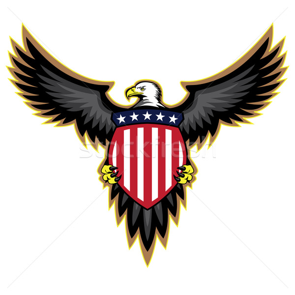 Patriotic American eagle, wings spread, holding shield Stock photo © jeff_hobrath