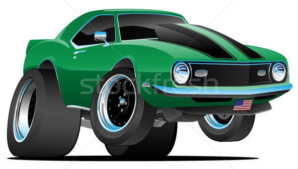 Klassiek sixties stijl amerikaanse muscle car cartoon Stockfoto © jeff_hobrath