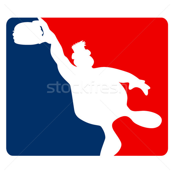 Large Guy Slamming a Hamburger Sports Cartoon Vector Illustration Stock photo © jeff_hobrath