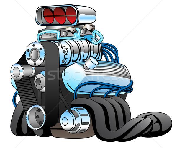 Photo stock: Hot · rod · voiture · de · course · moteur · cartoon · cool · muscle · car