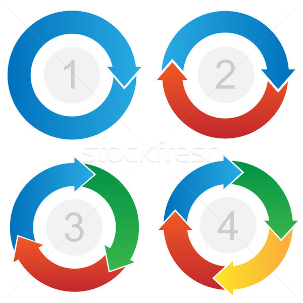 Curved Process Flow Arrows Info-graphic Vector Stock photo © jeff_hobrath