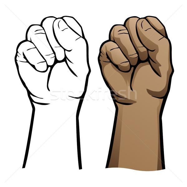 Hand vuist menselijke hand strak zachte beide Stockfoto © jeff_hobrath