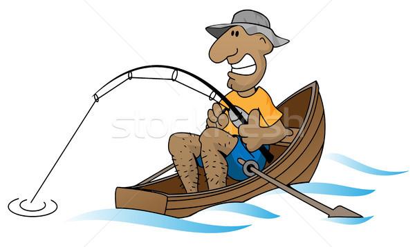Rajz férfi halászhajók vicces halász csónak Stock fotó © jeff_hobrath