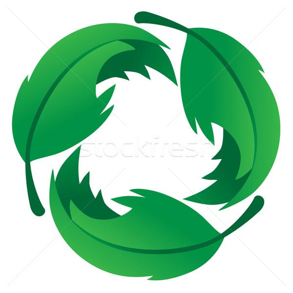 çevre dostu yaprak logo üç yaprakları geri dönüşüm Stok fotoğraf © jeff_hobrath