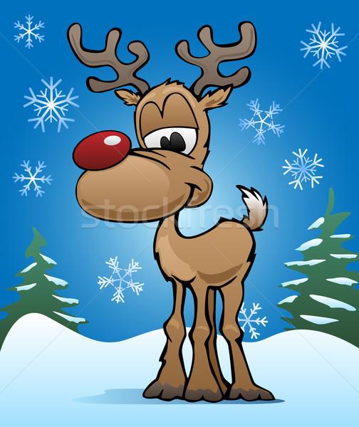 Aranyos karácsony ünnep piros orr rénszarvas Stock fotó © jeff_hobrath