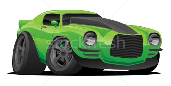 Muscle car cartoon illustratie hot amerikaanse heldere Stockfoto © jeff_hobrath