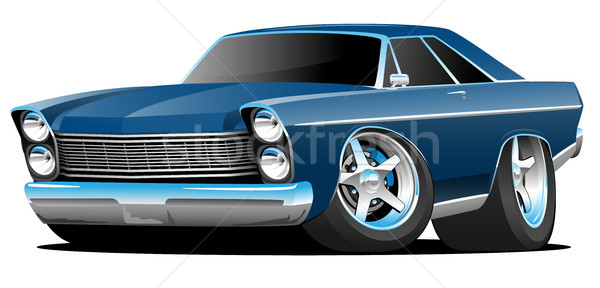 Classic Sixties Style Big American Muscle Car Cartoon Vector Illustration Stock photo © jeff_hobrath