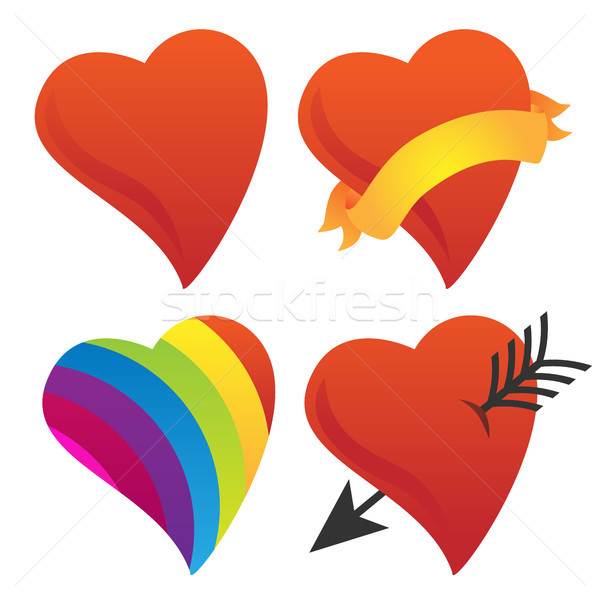 Cute Sweetheart, Cupid Heart, Valentine Heart, Rainbow Heart Vector Group Stock photo © jeff_hobrath