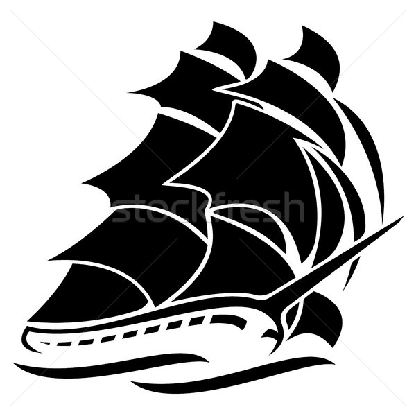 Old Tall Sailing Ship Vector Graphic Illustration Stock photo © jeff_hobrath
