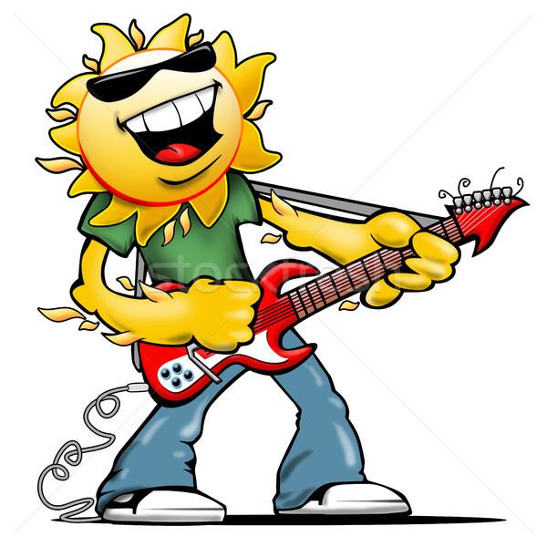 Mutlu gülen güneş karakter kaya gitar Stok fotoğraf © jeff_hobrath