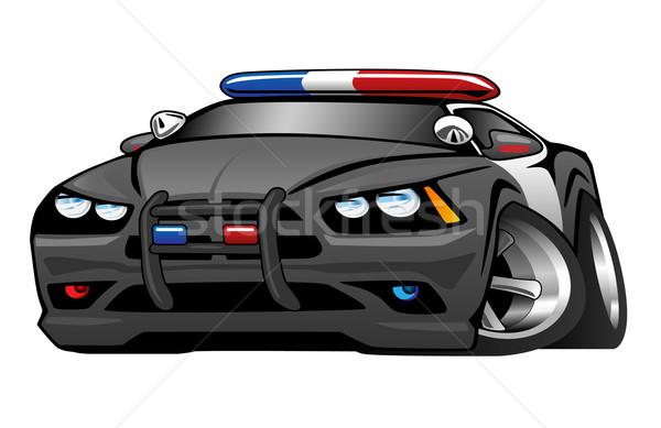 Politie muscle car cartoon illustratie agressief naar Stockfoto © jeff_hobrath