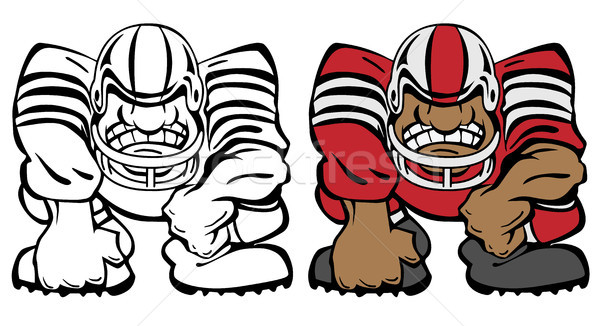 Football Player in a 3 Point Stance Cartoon Vector Illustration Stock photo © jeff_hobrath