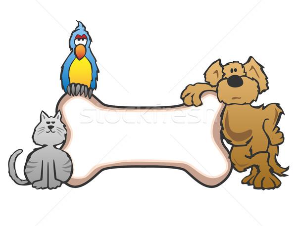собака птица кошки кость ПЭТ знак Сток-фото © jeff_hobrath