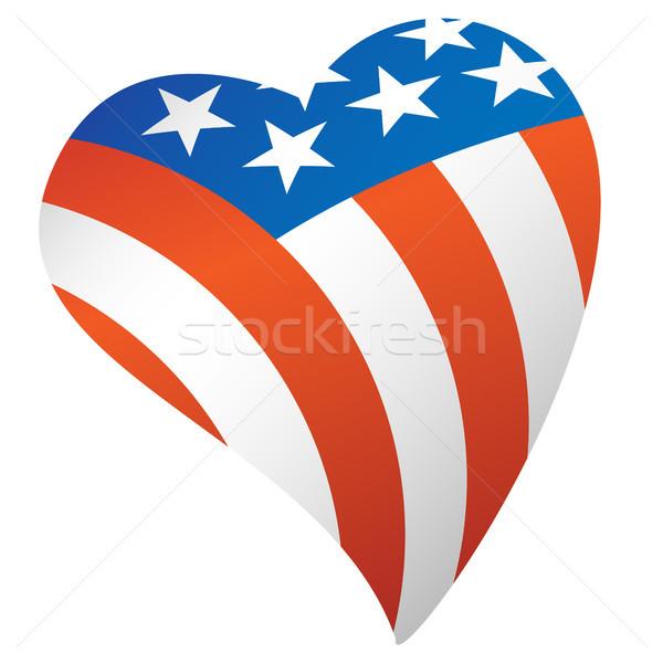 Patriótico bandeira americana EUA coração orgulhoso bandeira Foto stock © jeff_hobrath