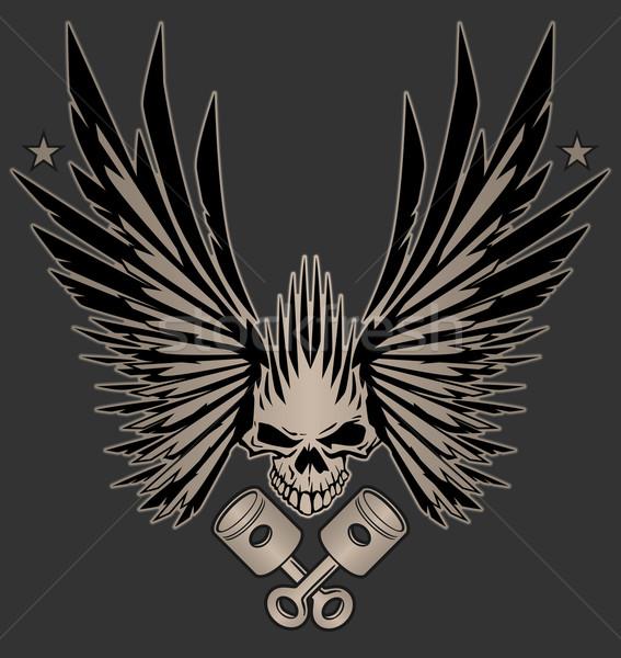 Kafatası kanatlar örnek harika vektör dizayn Stok fotoğraf © jeff_hobrath