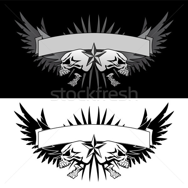 Skull wings with banner tattoo style vector graphic Stock photo © jeff_hobrath