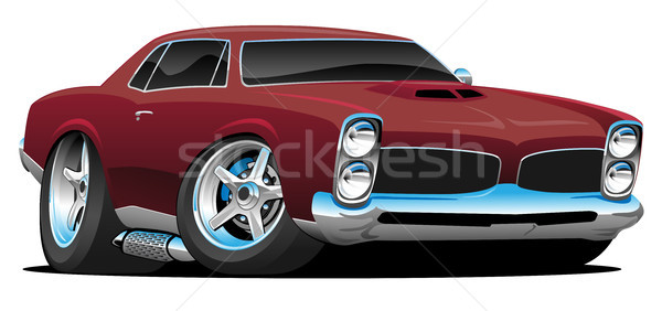 Classic American Muscle Car Cartoon Vector Illustration Stock photo © jeff_hobrath