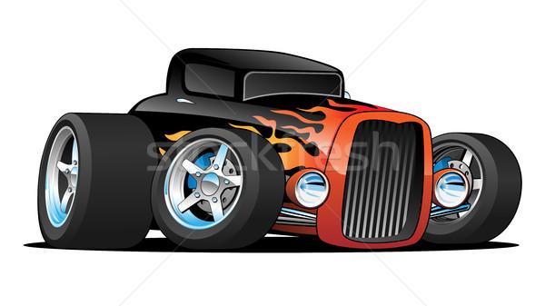 Hot rod klassiek coupe gewoonte auto cartoon Stockfoto © jeff_hobrath