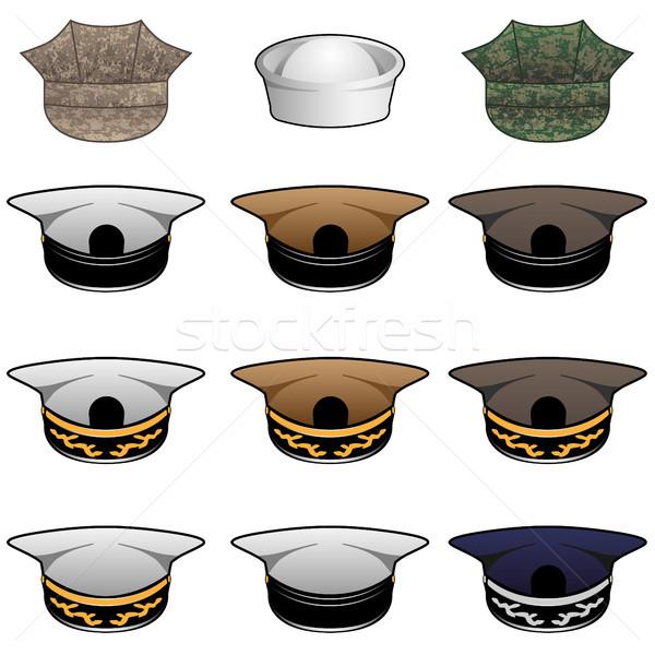 Military Hats Vector Illustration Stock photo © jeff_hobrath