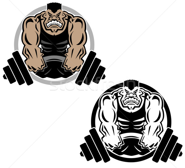 Weightlifting Muscle Fitness Gym Logo Illustration Stock photo © jeff_hobrath
