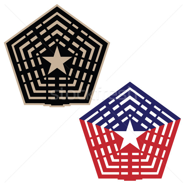Pentagon vector illustration in black and tan, and red white and blue versions Stock photo © jeff_hobrath