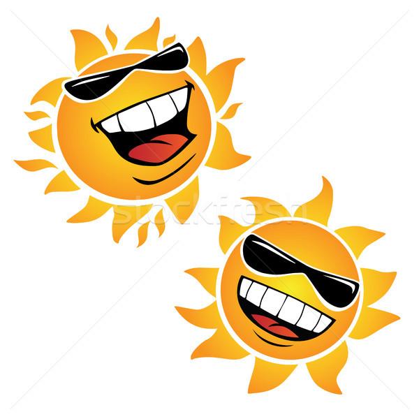 Jasne uśmiechnięty szczęśliwy słońce cartoon wektora Zdjęcia stock © jeff_hobrath