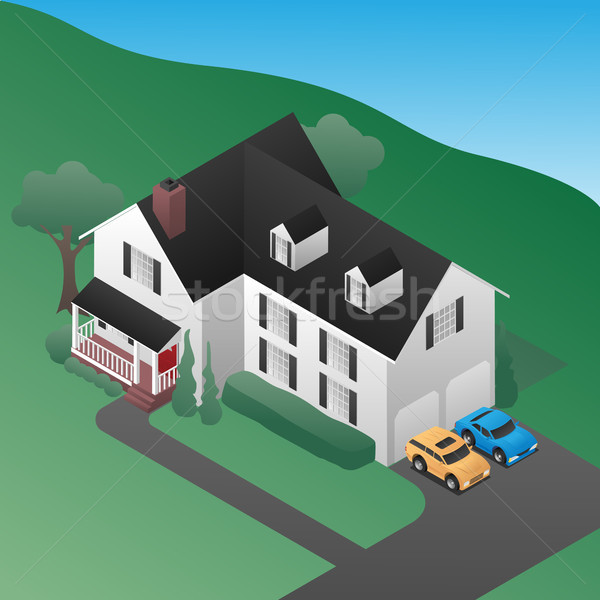 Isometric 3D Country House Vector illustration Stock photo © jeff_hobrath