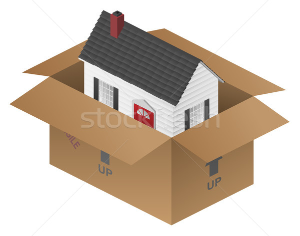 Real-estate Moving House Packing Box Vector Illustration Stock photo © jeff_hobrath