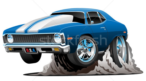 Klassiek amerikaanse muscle car cartoon hot stijl Stockfoto © jeff_hobrath
