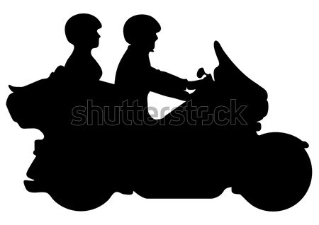 Couple Riding Motorcycle Silhouette Vector Illustration Stock photo © jeff_hobrath