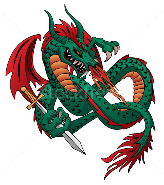 Flying fire breathing dragon vector illustration Stock photo © jeff_hobrath