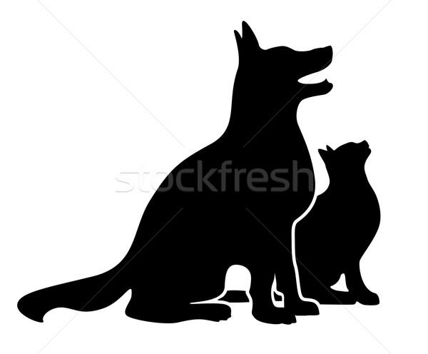 Köpek kedi siluet basit mutlu oturma Stok fotoğraf © jeff_hobrath
