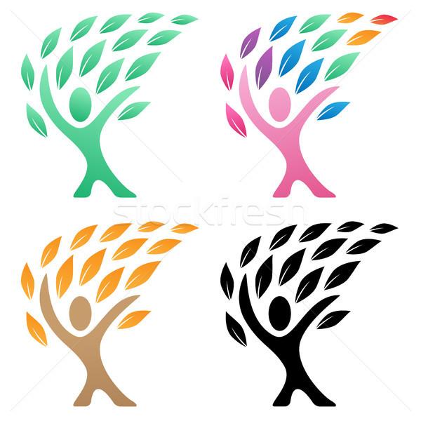 Kişi hayat ağaç logo grup yeşil Stok fotoğraf © jeff_hobrath