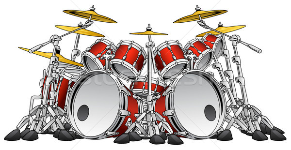 Huge 10 Piece Rock Drum Set Musical Instrument Illustration Stock photo © jeff_hobrath