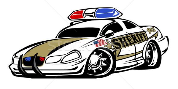 Sheriff autó illusztráció agresszív néz rendőrség Stock fotó © jeff_hobrath