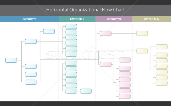 Horizontal Organizational Corporate Flow Chart Vector Graphic Stock photo © jeff_hobrath
