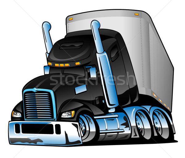 Semi Truck with Trailer Cartoon Vector Illustration Stock photo © jeff_hobrath