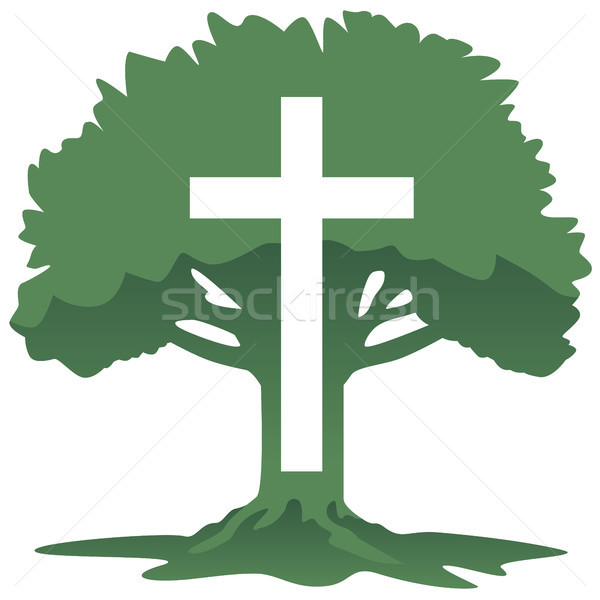 Cross and Tree Christian Religious Symbol Vector Illustration Stock photo © jeff_hobrath