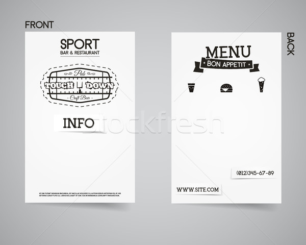 American football back and front pub flyer template design. Usa Sport restaurant brand identity lett Stock photo © JeksonGraphics