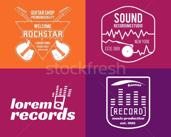 music production logos set Musical label icons. Music insignia and emblem print or logotype Guitars Stock photo © JeksonGraphics
