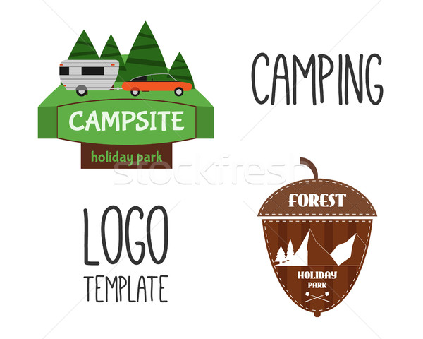 Set of Adventure Outdoor Tourism Travel Logo Vintage Labels design template. RV, forest holiday park Stock photo © JeksonGraphics